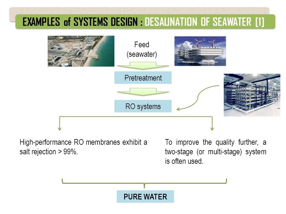 EXAMPLES of SYSTEMS DESIGN : DESALINATION OF SEAWATER [1]
